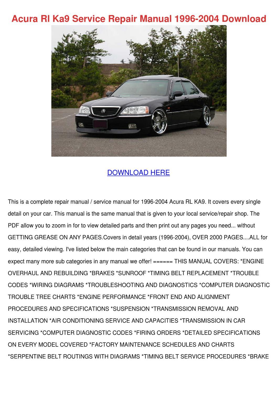 Acura Rl Ka9 Service Repair Manual 1996 2004 by Adelaide Guercio ...