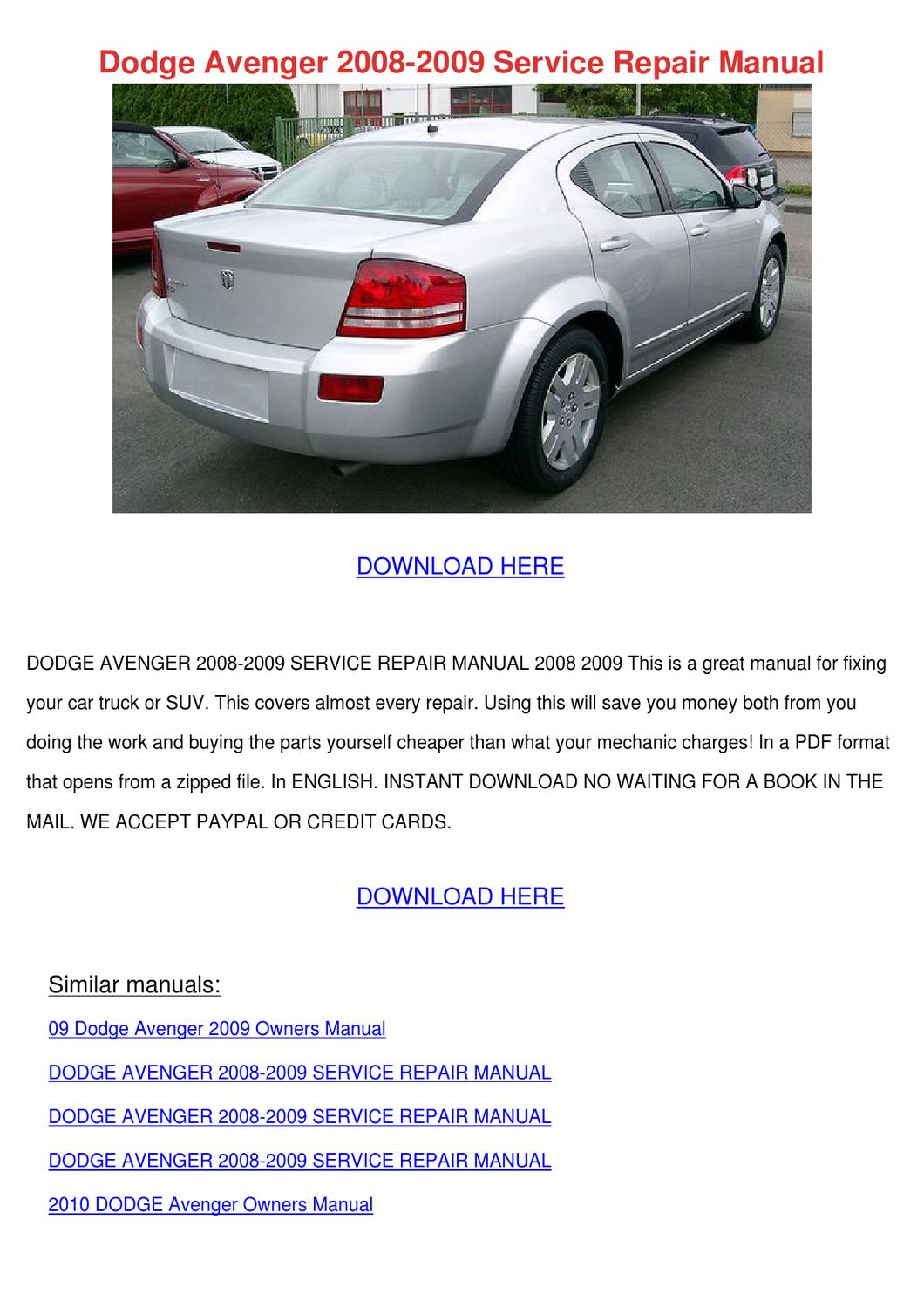 dodge avenger 2008 2009 service repair manual by lavonia laramie issuu rh issuu com dodge avenger 2008 repair manual dodge avenger 2008 owners manual pdf