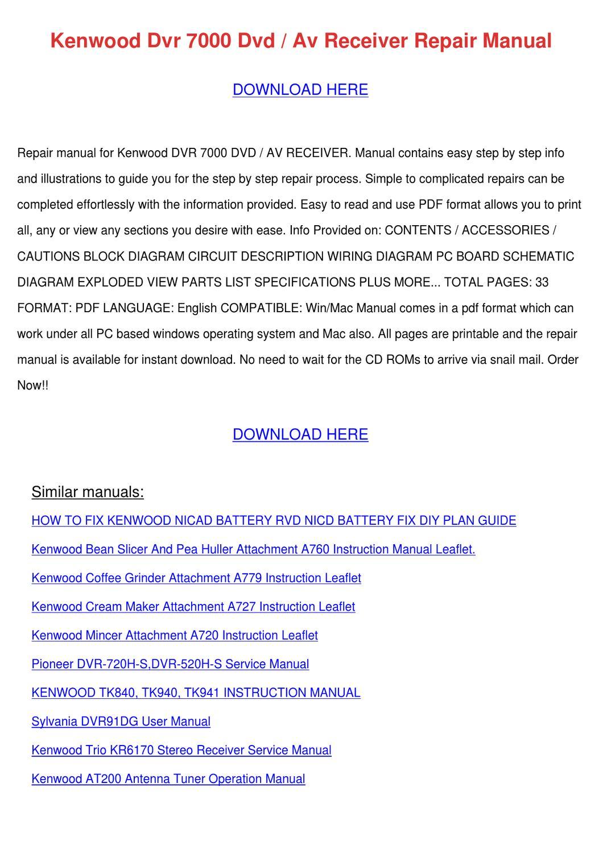 Kenwood Dvr 7000 Dvd Av Receiver Repair Manua by Lavonia