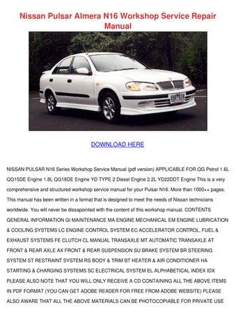 Nissan Almera N16 Series Service Manual Repair Manual Pdf