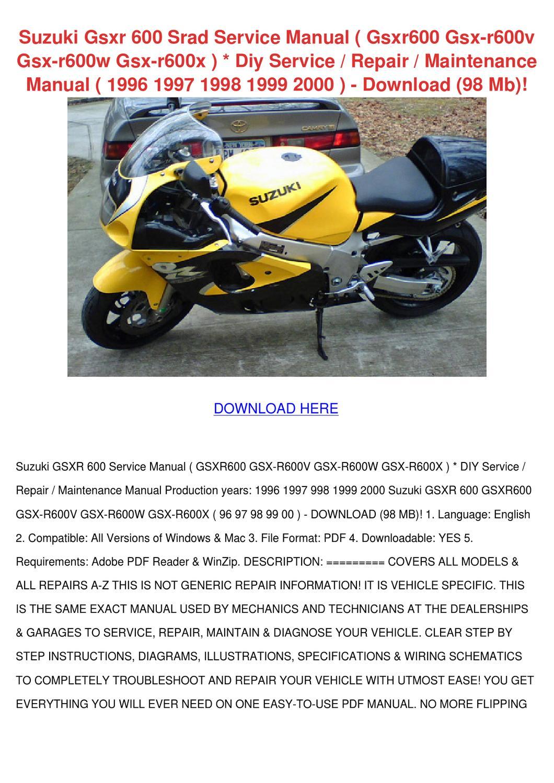 Suzuki Gsxr 600 Srad Service Manual Gsxr600 G by Larita Cory - issuu