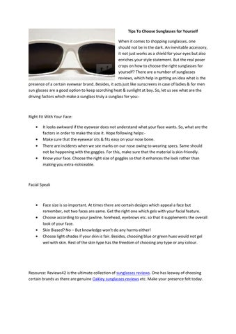 22a14b80ed6 Tips To Choose Sunglasses for Yourself When it comes to shopping sunglasses