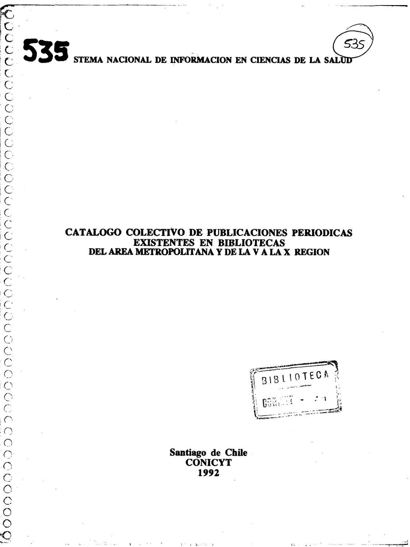 CATALOGO COLECTIVO DE PUBLICACIONES PERIODICAS EXISTENTES EN ...