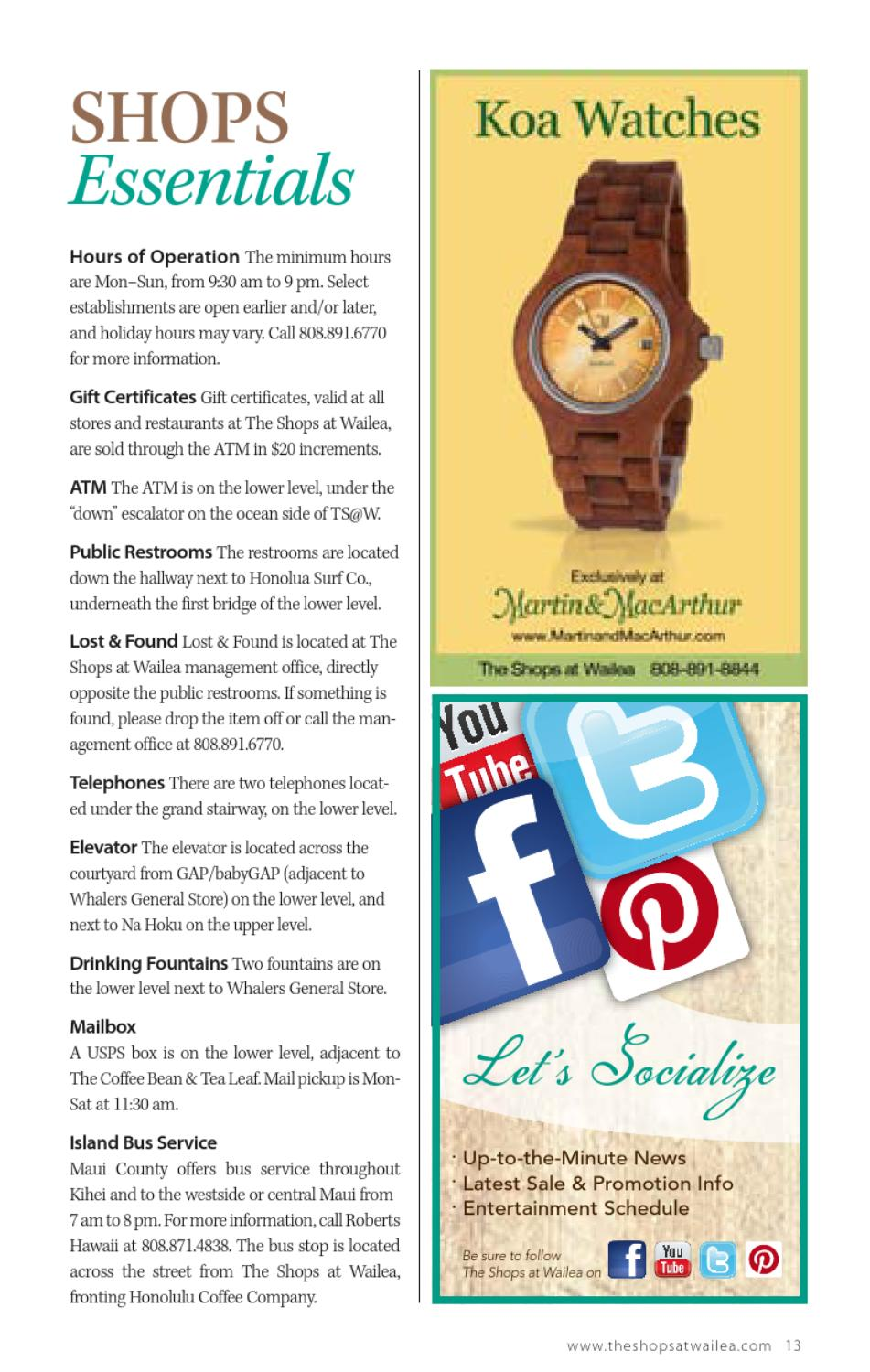 Shops at Wailea Magazine Spring/Summer 2013 by Morris Media