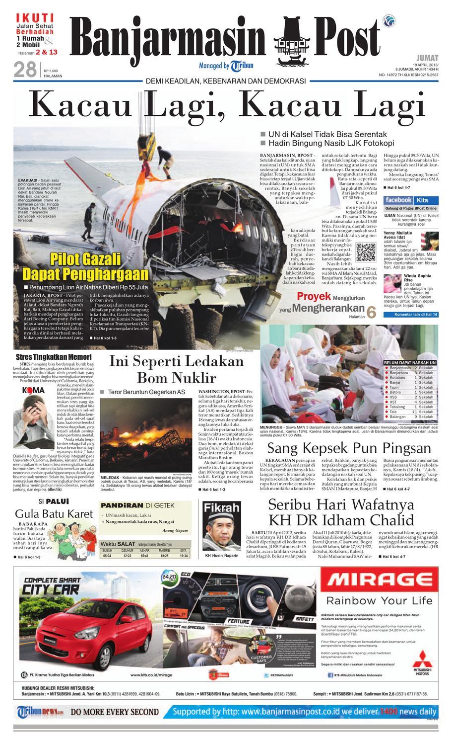 Banjarmasin Post Edisi Jumat 19 April 2013 By Issuu Produk Ukm Bumn Tas Ransel Threepoint