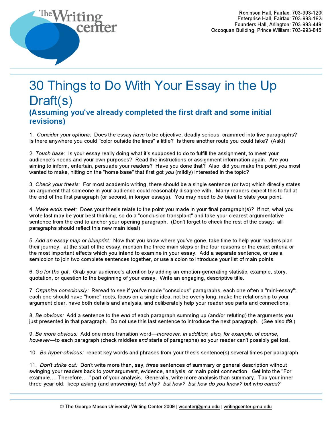 30 Things To Do With Your Essay in the Up Drafts by Writing Center - issuu