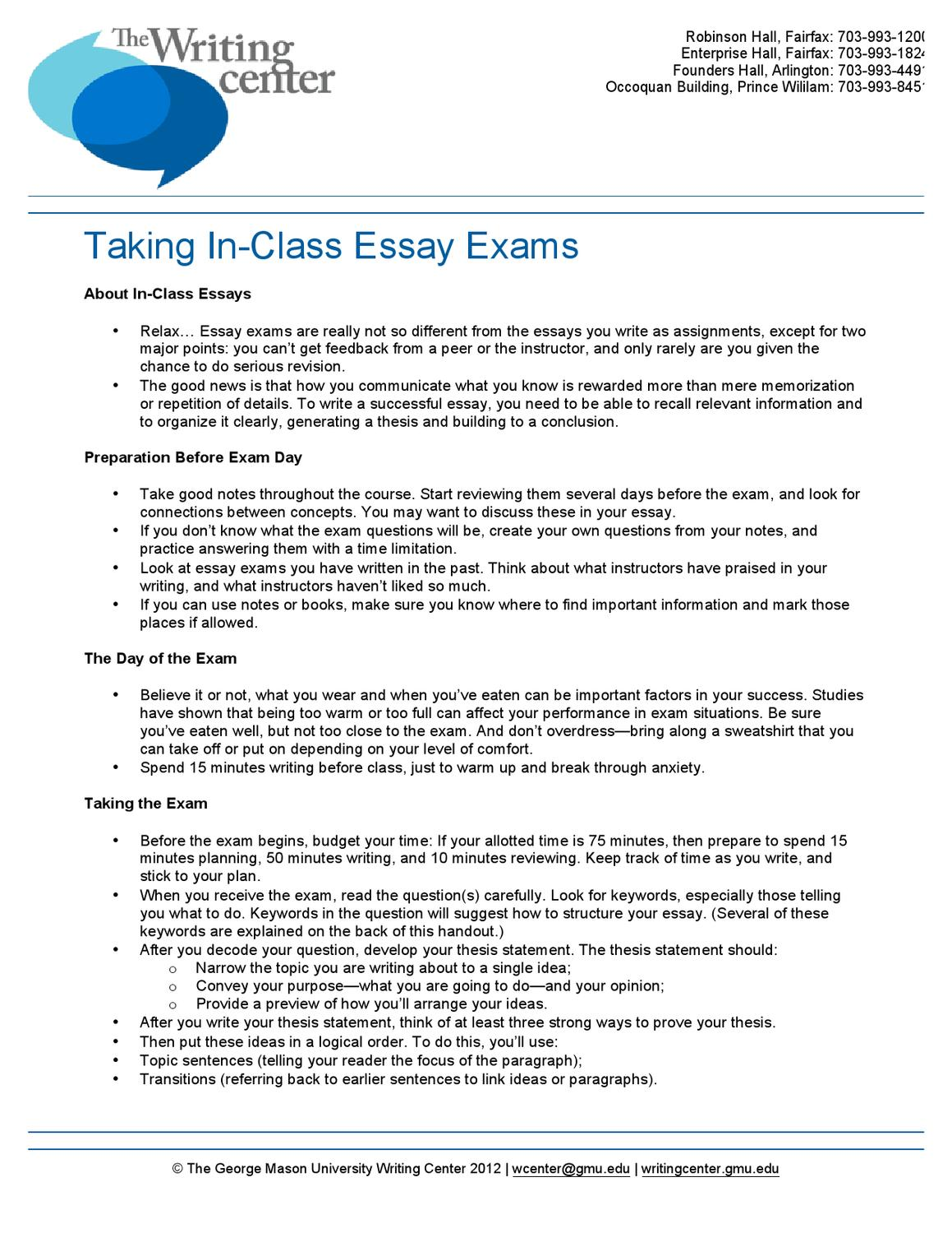 taking essay exams Is this a trick question a short guide to writing effective test questions designed & developed by: ben clay kansas curriculum center essay test taking tips.
