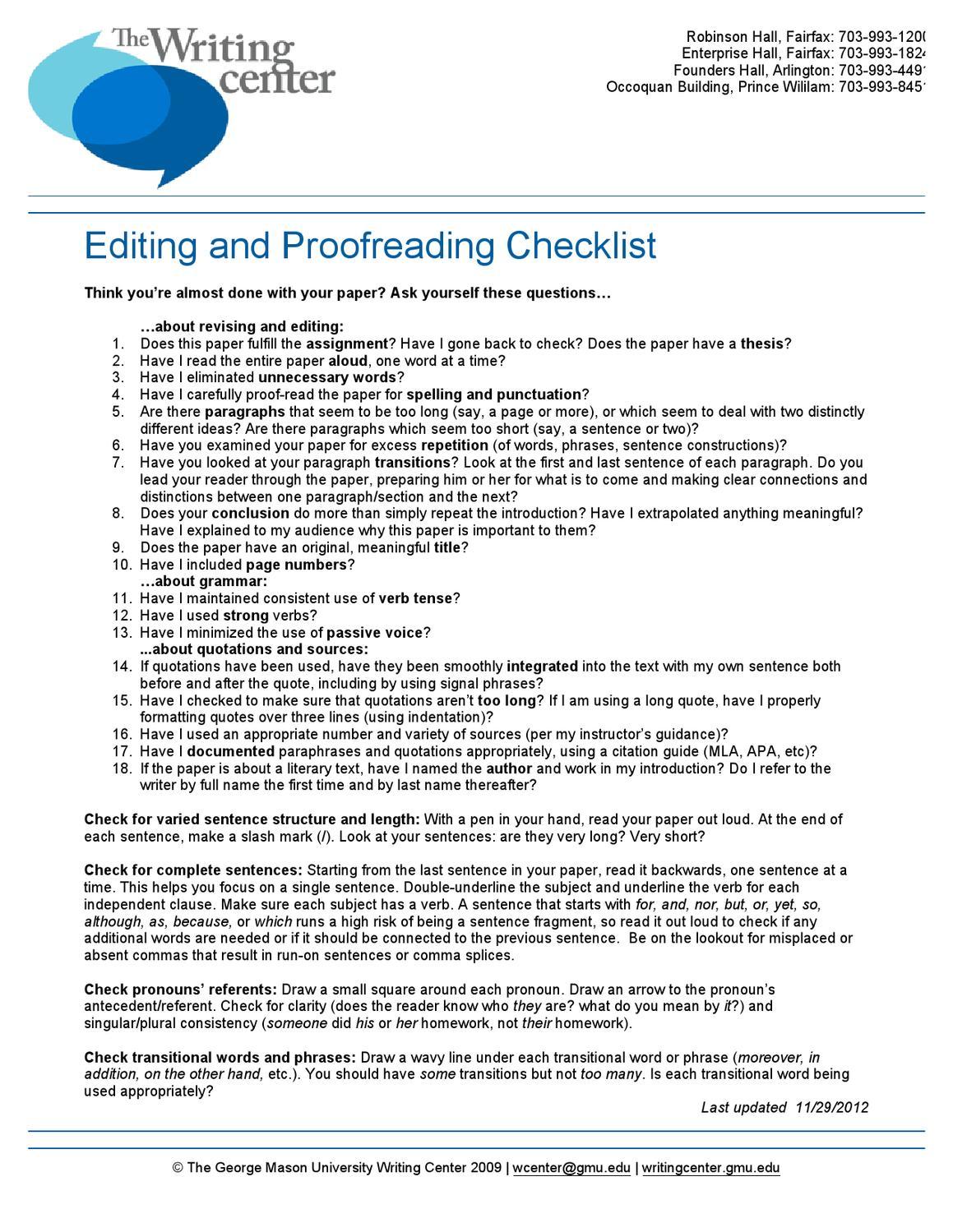 proofread checklist
