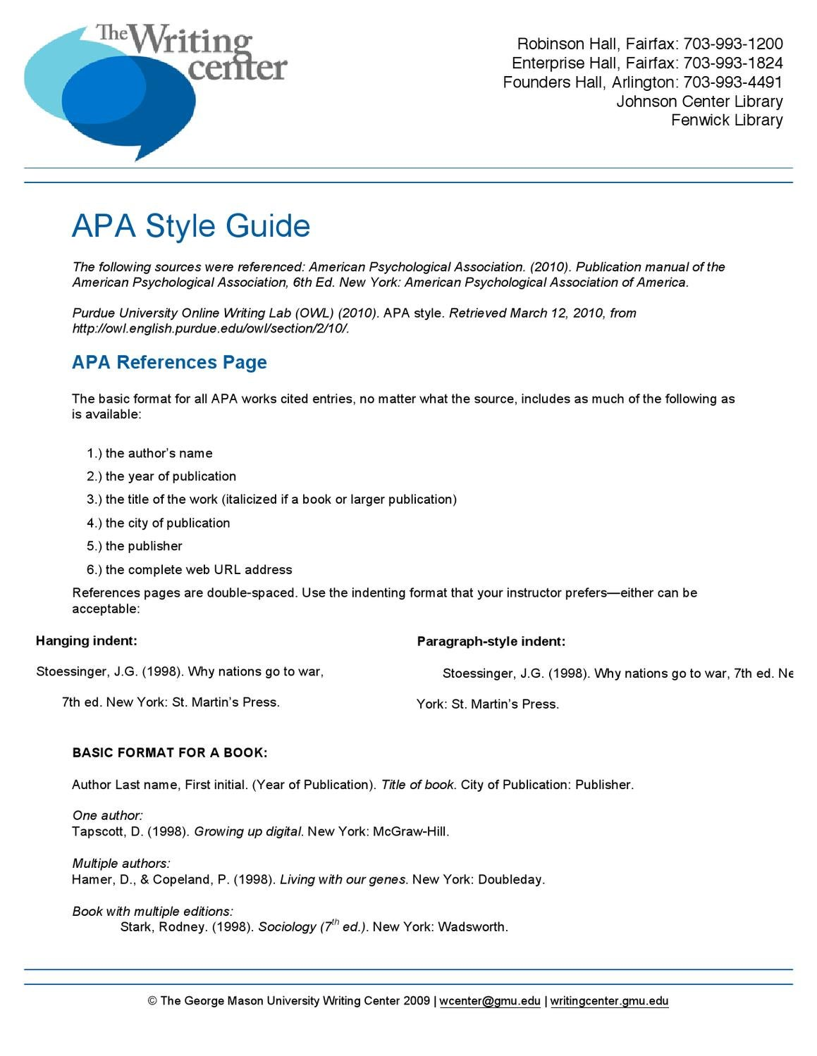 apa citation style by writing center issuu