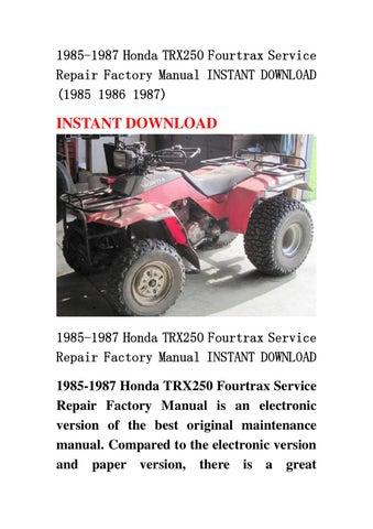1985 1987 honda trx250 fourtrax service repair factory honda trx350 manual shift honda trx250x manual download 1987-88