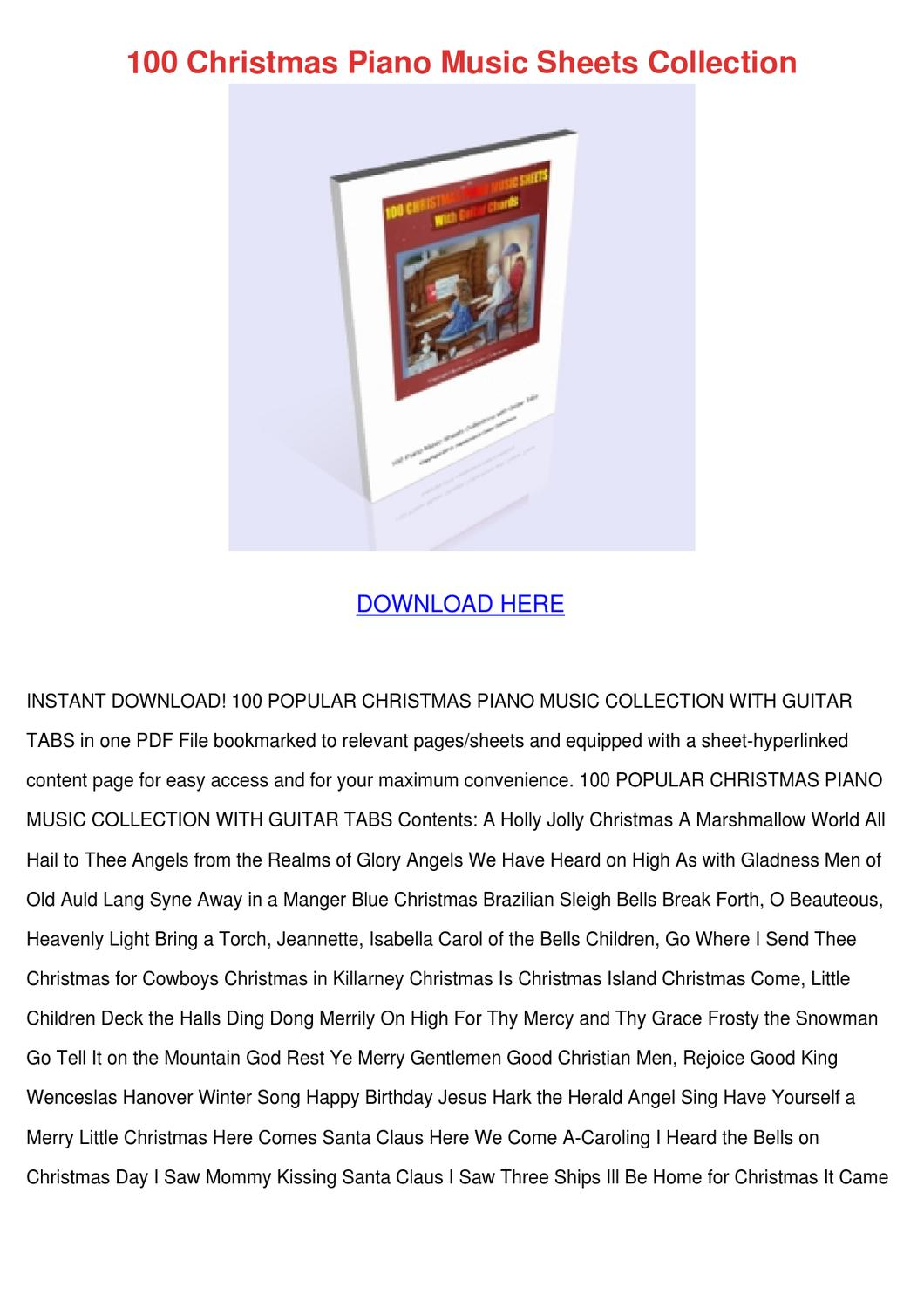 100 Christmas Piano Music Sheets Collection by Jane Hilse - issuu