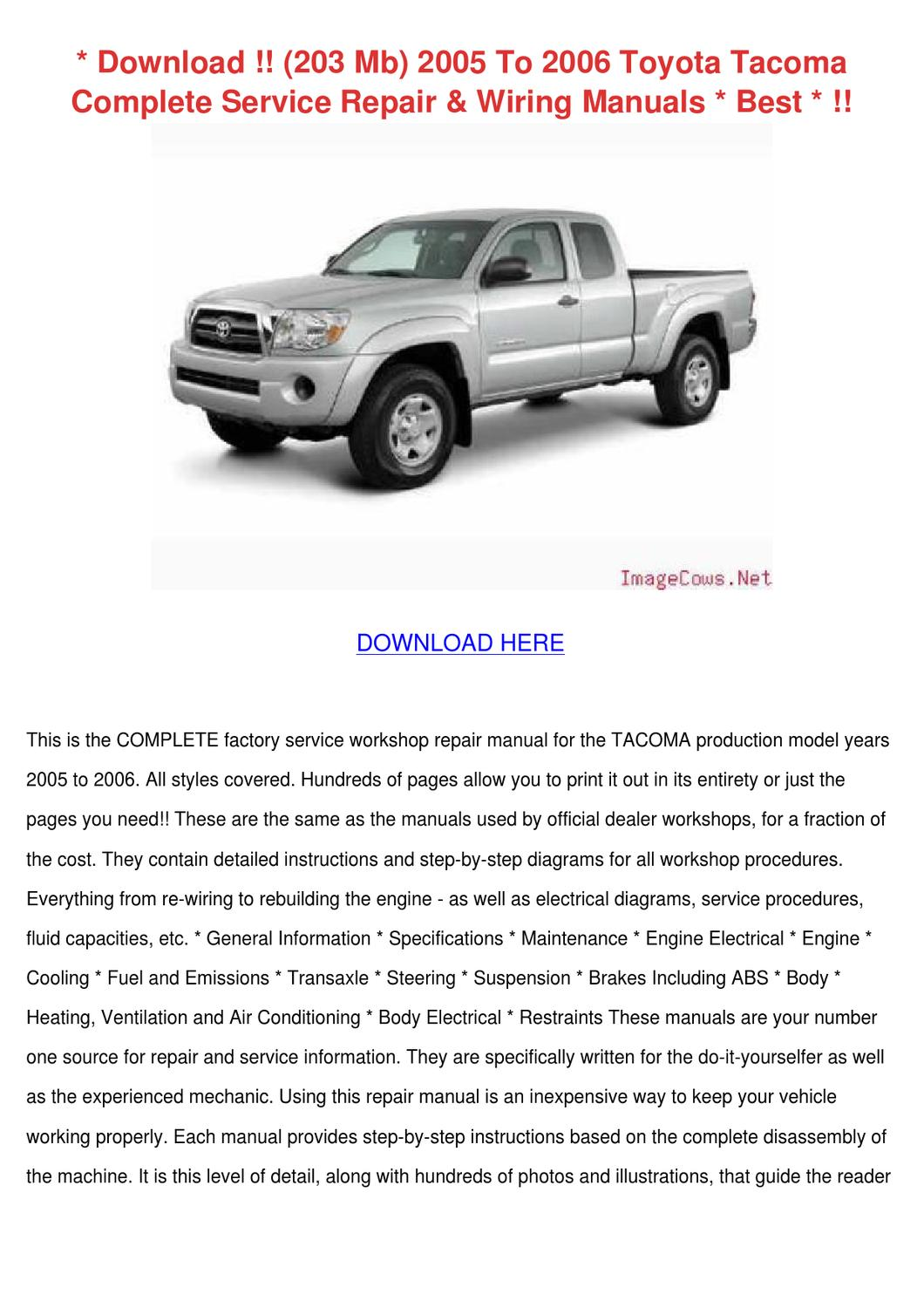 download 203 mb 2005 to 2006 toyota tacoma co by mathilde. Black Bedroom Furniture Sets. Home Design Ideas