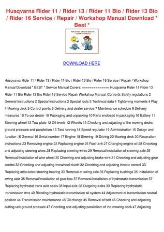 husqvarna rider 16 ride on mower full service repair manual