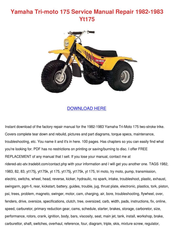 Carburetor Carb for ATV Yamaha YTM200 TRI-MOTO 1983 1984 1985 Three Wheeler