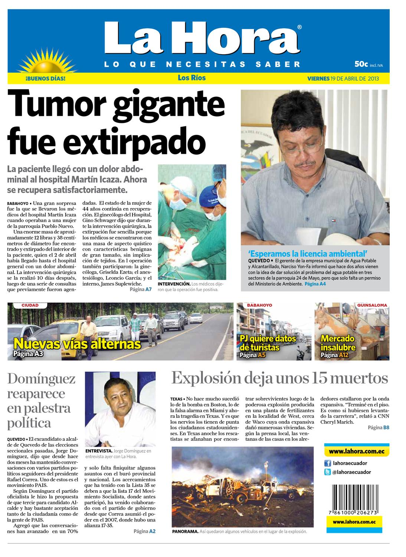 Edición impresa Los Ríos del 19 de abril de 2013 by Diario La Hora Ecuador  - issuu 847d2b5c146