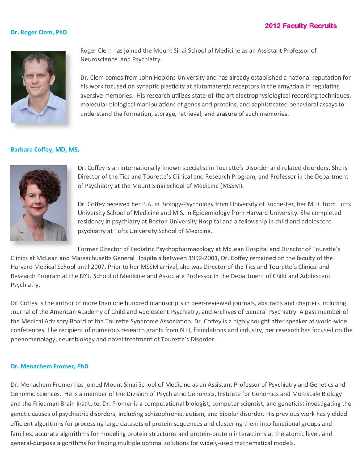 Faculty Recruits 2012 by Mount Sinai Health System - issuu