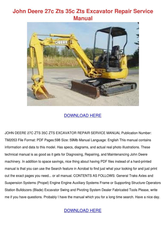 John Deere 27c Zts 35c Zts Excavator Repair S by Saturnina Bralley - issuu