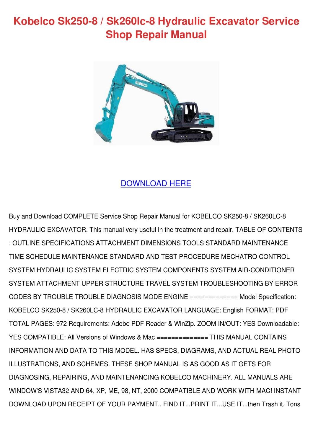 Kobelco Sk250 8 Sk260lc 8 Hydraulic Excavator by Saturnina Bralley - issuu