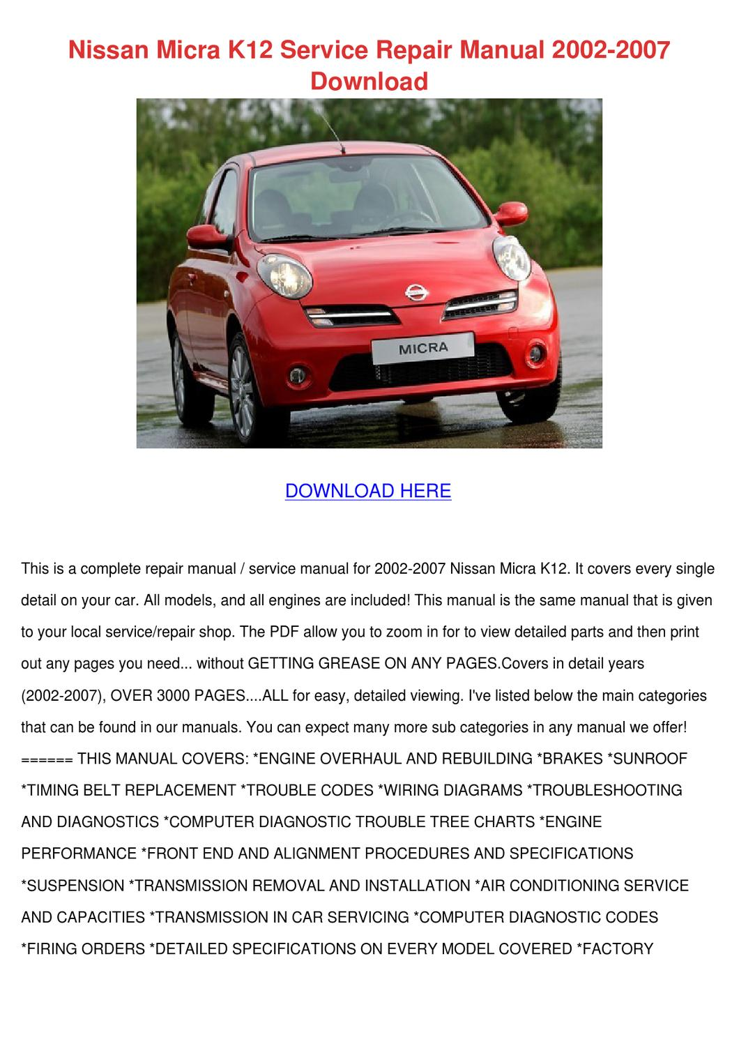 Nissan Micra K12 Service Repair Manual 2002 2 By Therese