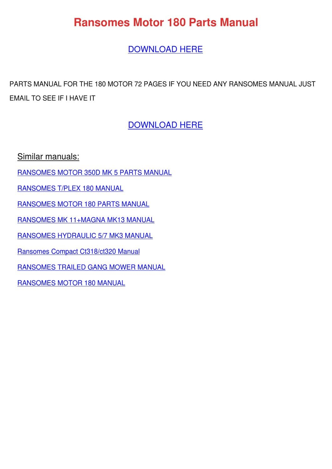 Ransomes Motor 180 Parts Manual by Therese Kibler - issuu