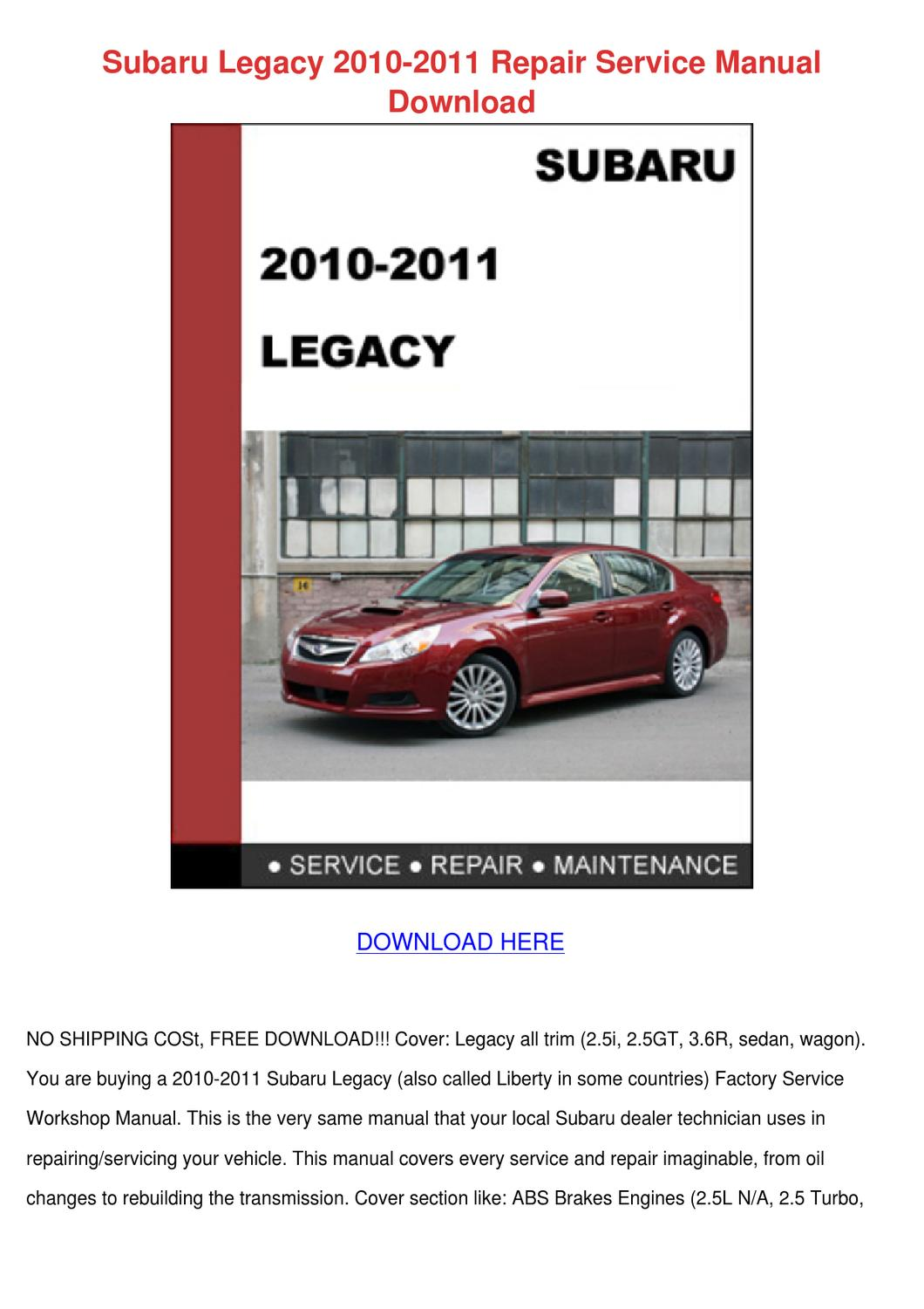Subaru Legacy 2010 2011 Repair Service Manual