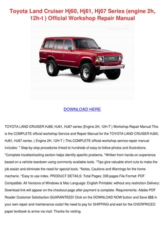 toyota land cruiser hj60 hj61 hj67 series eng by sharee timoteo issuu rh issuu com 1980 Toyota Land Cruiser Land Cruiser Factory Manual