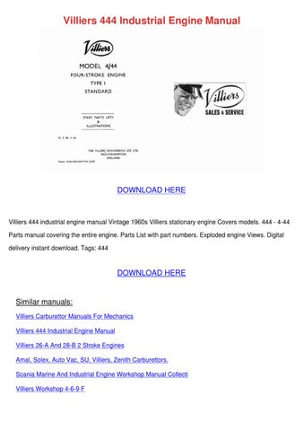 Villiers 444 Industrial Engine Manual by Sharee Timoteo - issuu