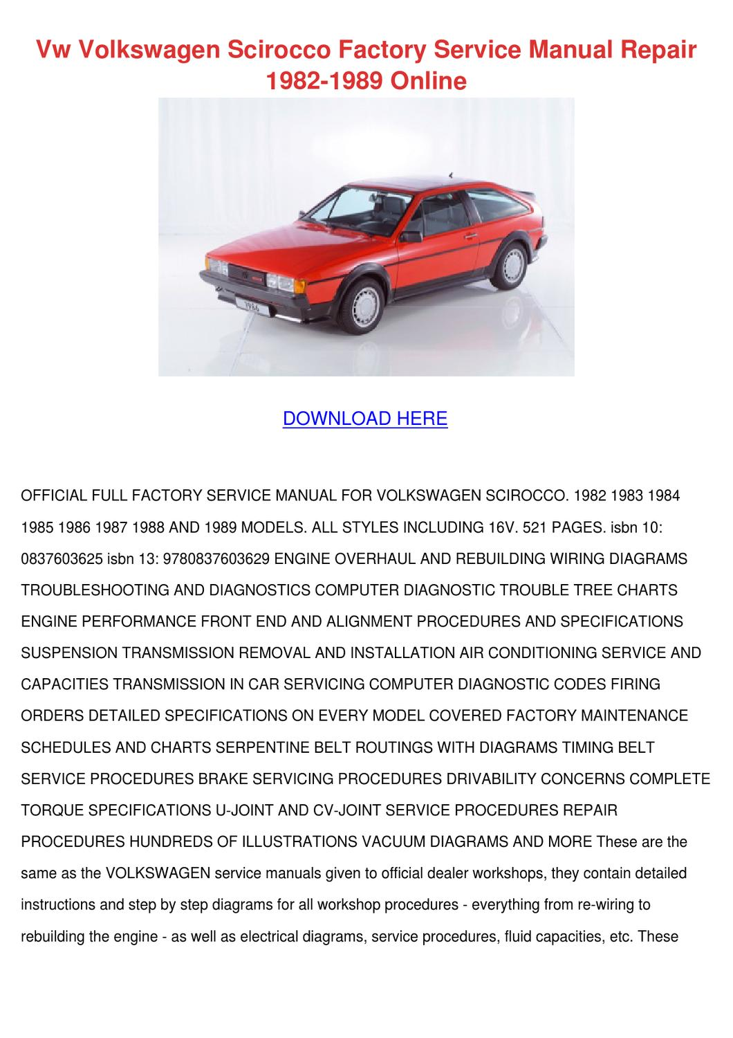 Groovy Vw Volkswagen Scirocco Factory Service Manual By Sharee Timoteo Issuu Wiring Database Ilarigelartorg
