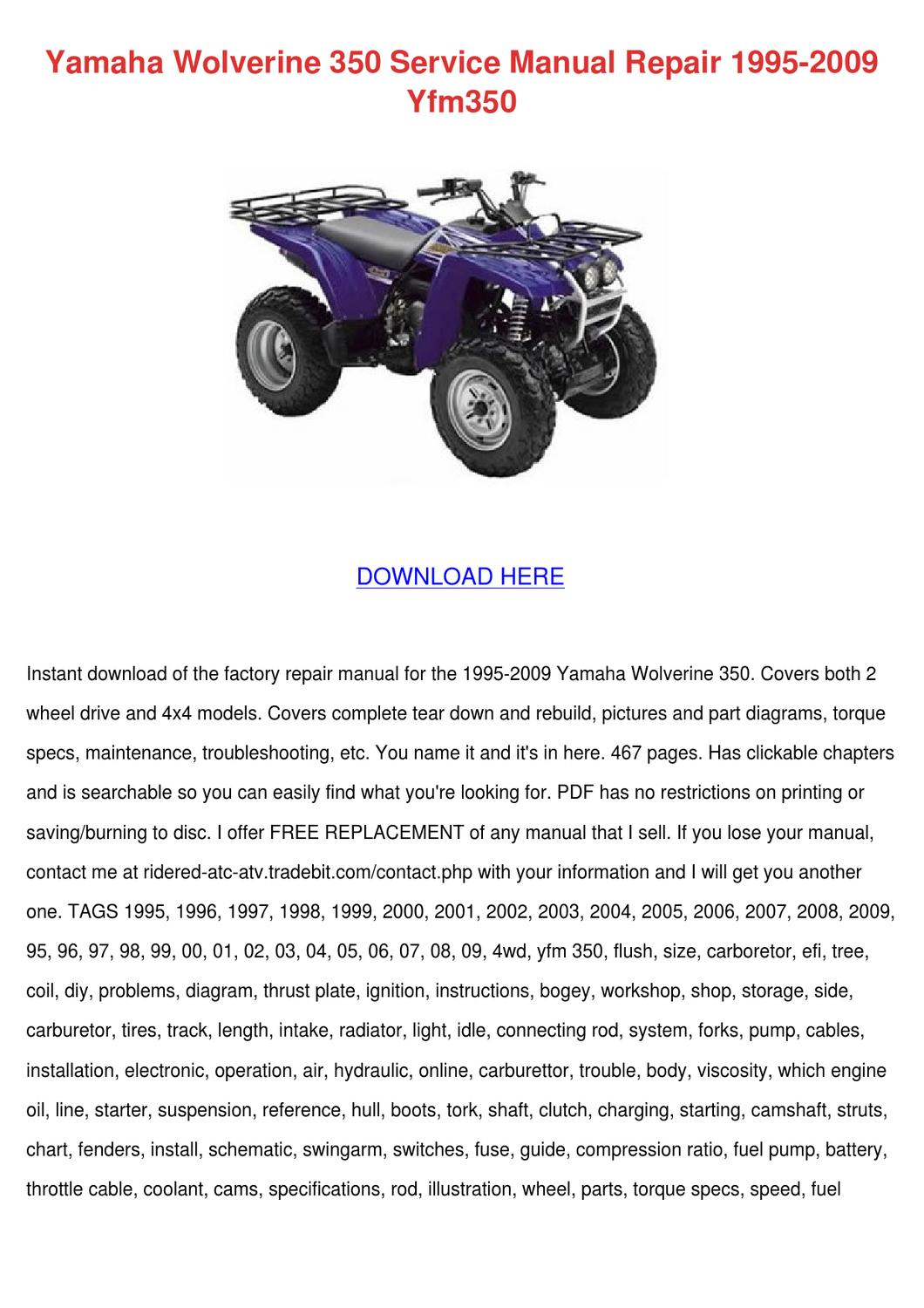Yamaha Wolverine 350 Service Manual Repair 19 By Sharee