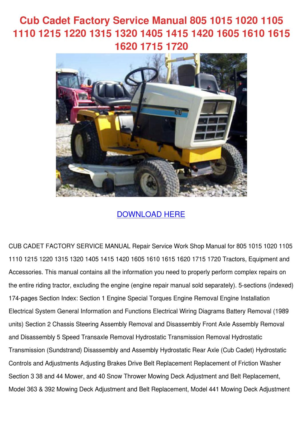 Wiring Diagram Cub Cadet 1415 Free Download 1440 Factory Service Manual 805 1015 102 By Ozella Blattner Issuu
