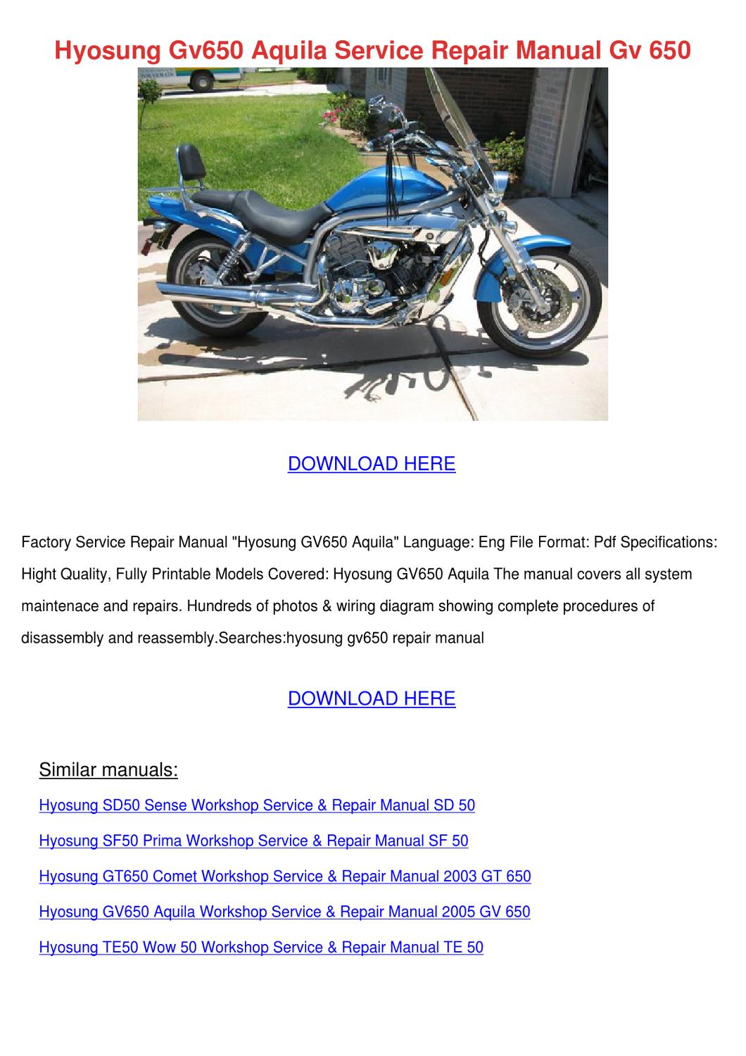 Hyosung Gv650 Aquila Service Repair Manual Gv by Cherelle Mcglathery - issuu