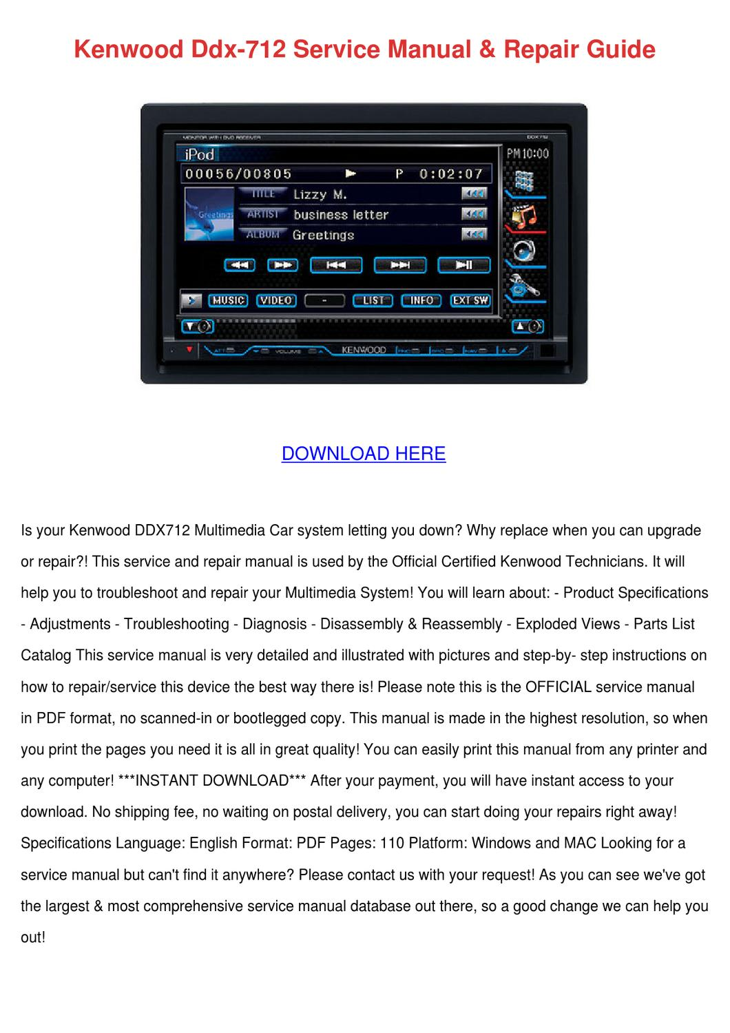 Kenwood Ddx712 Wiring Diagram Library Ddx 712 Service Manual Repair Guide By Sherice Lasala Issuu Dnx7140 Detailed
