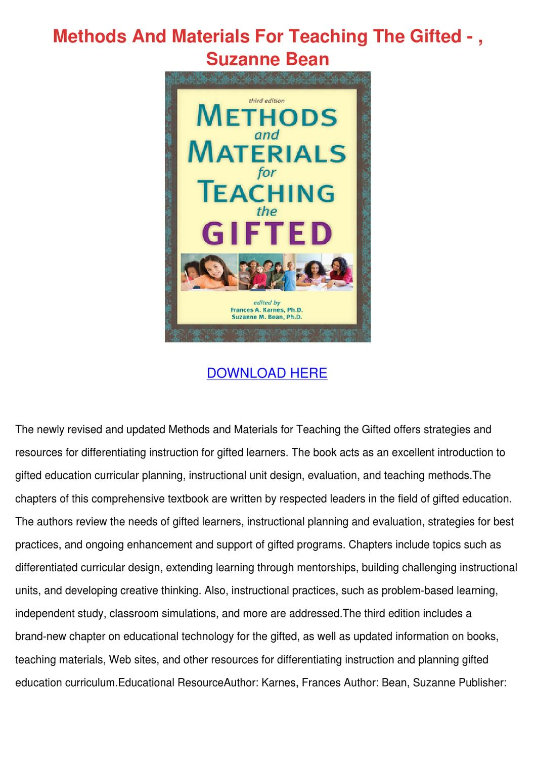 Methods And Materials For Teaching The Gifted By Sherice Lasala Issuu
