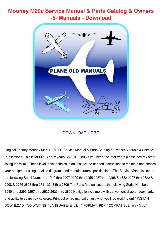 Mooney M20c Service Manual Parts Catalog Owne by Sherice Lasala ...
