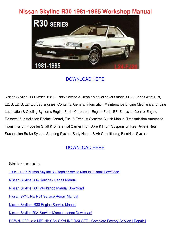 Nissan Skyline R30 1981 1985 Workshop Manual By Sherice Lasala Issuu