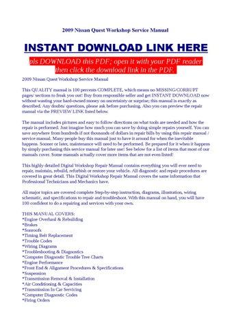 2009 nissan quest workshop service manual