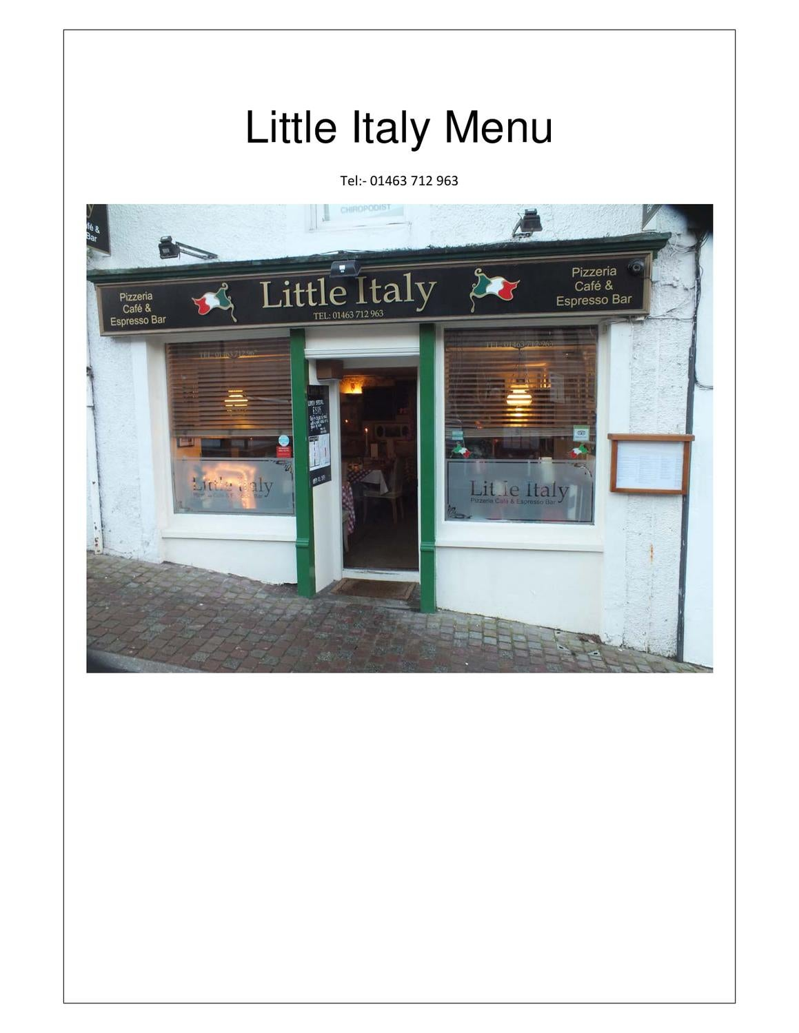little italy the italian restaurant in inverness full. Black Bedroom Furniture Sets. Home Design Ideas