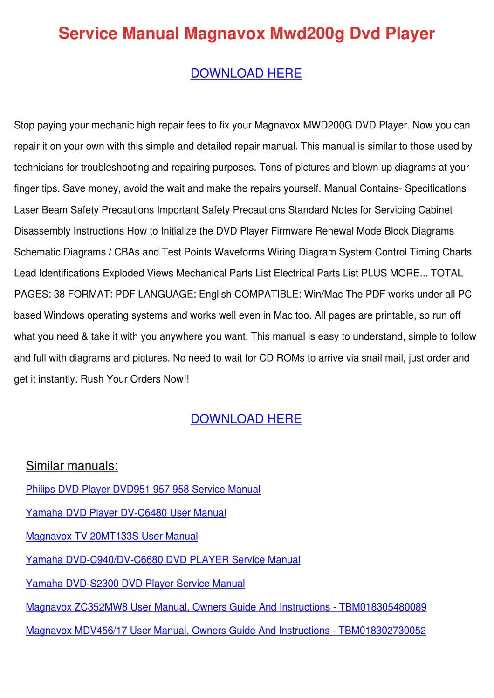 Service Manual Magnavox Mwd200g Dvd Player by Janett Kofford - issuu