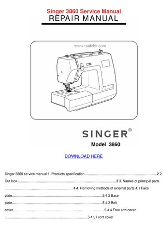 Singer 40 Service Manual By Janett Kofford Issuu Impressive Singer Sewing Machine Model 7422 Manual