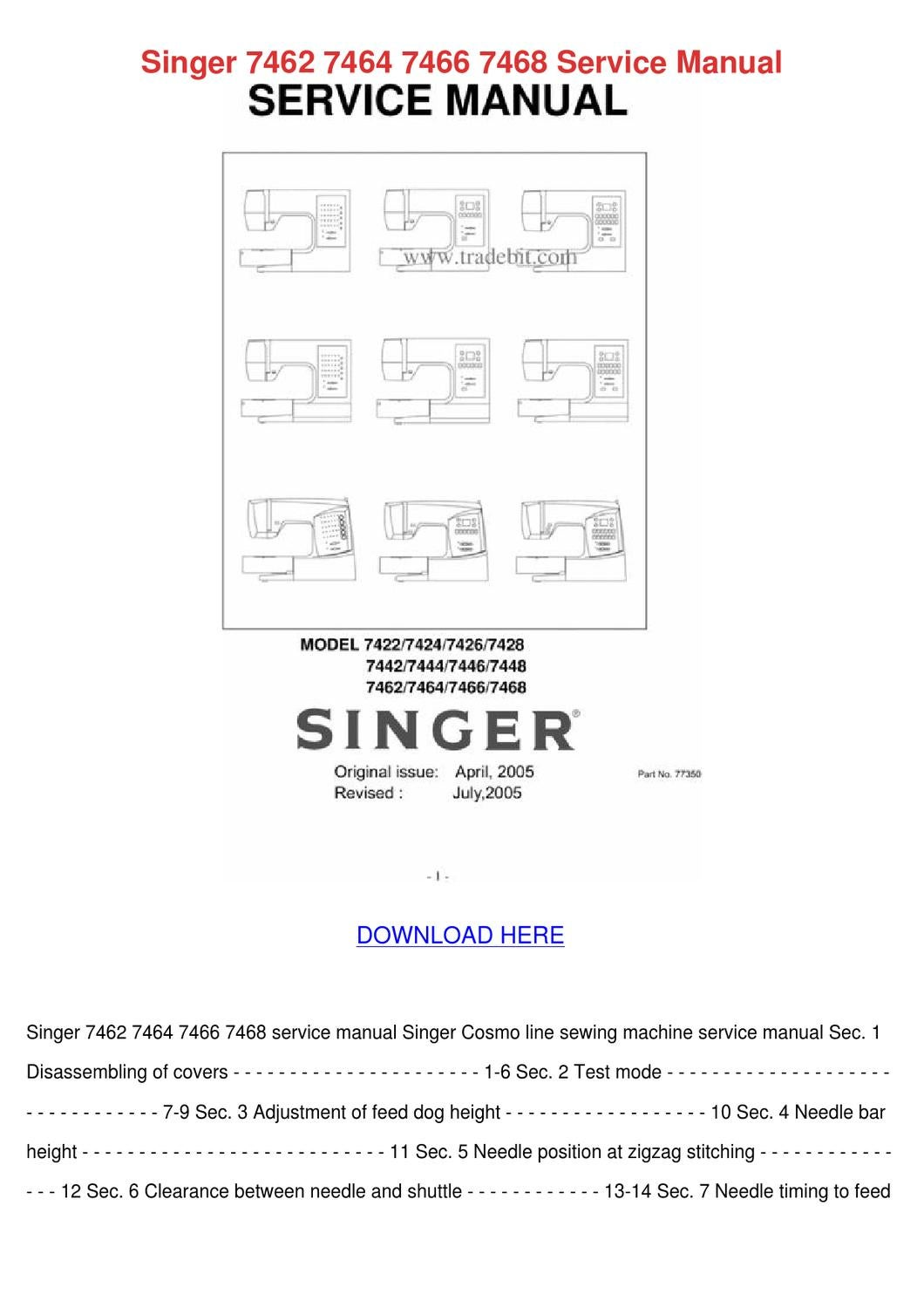 Singer 7462 7464 7466 7468 Service Manual by Janett Kofford - issuu