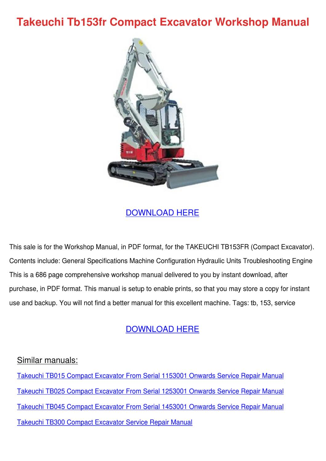 Takeuchi Tb153fr Compact Excavator Workshop M by Rave Caram - issuu