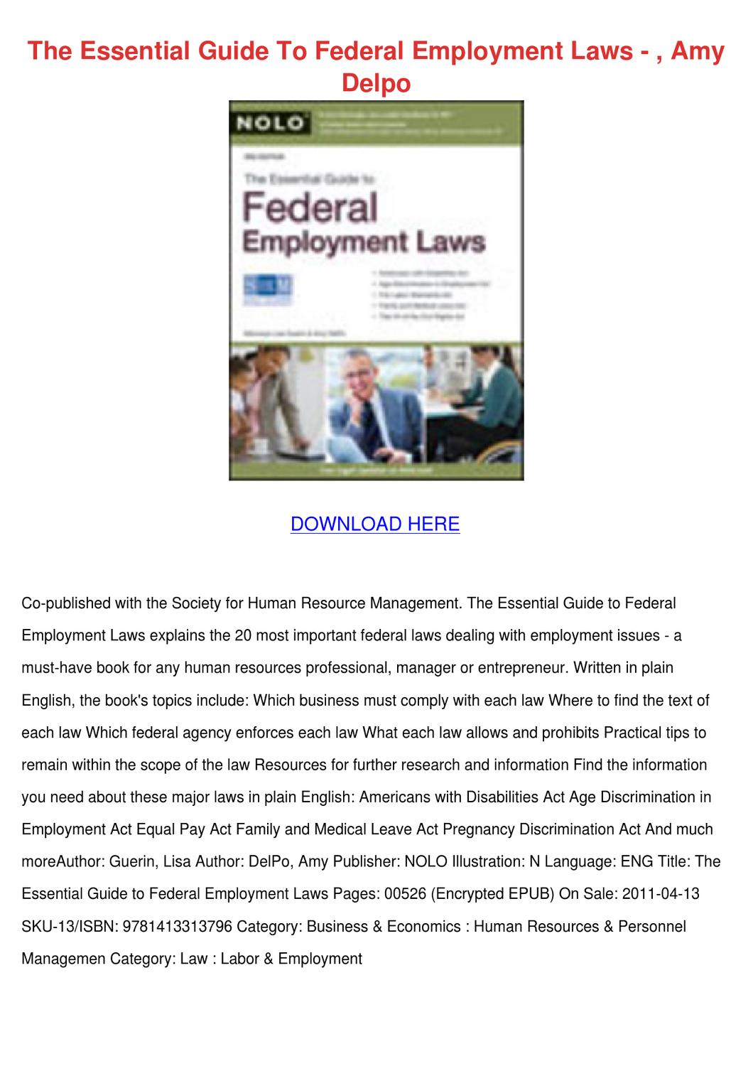 filetype pdf employment law for business and human resources professionals