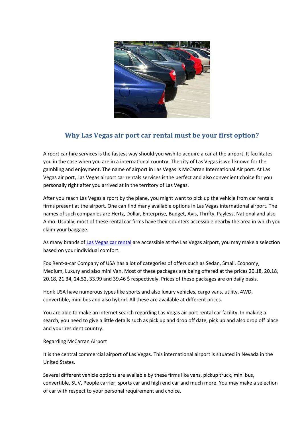 Why Las Vegas Air Port Car Rental Must Be Your First Option By
