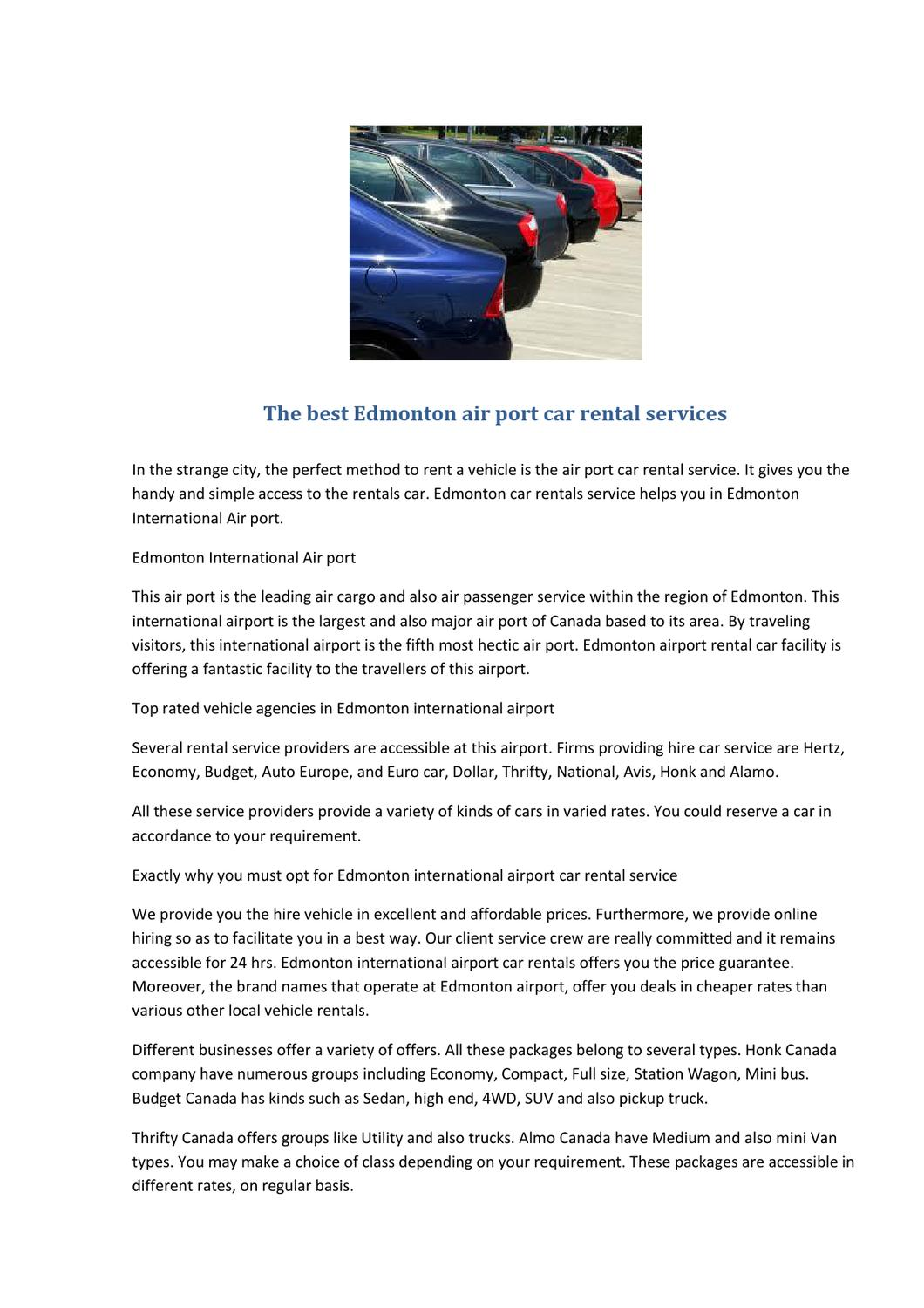 The Perfect Edmonton International Airport Hire Car Services By
