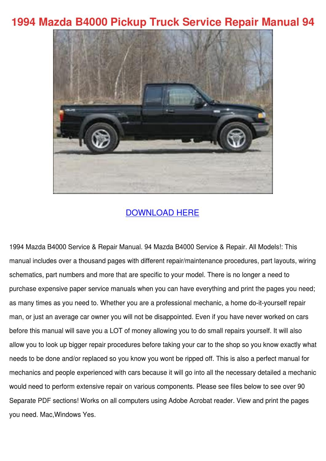 1994 Mazda B4000 Pickup Truck Service Repair By Whitley