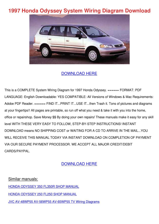 1997 Honda Odyssey System Wiring Diagram Down By Whitley