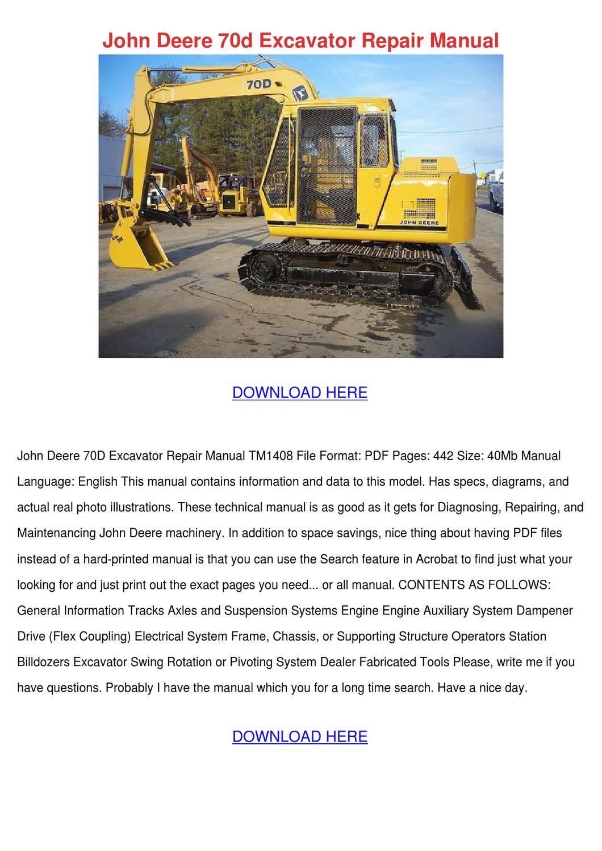 John Deere 70d Excavator Repair Manual by Darci Lovering - issuu