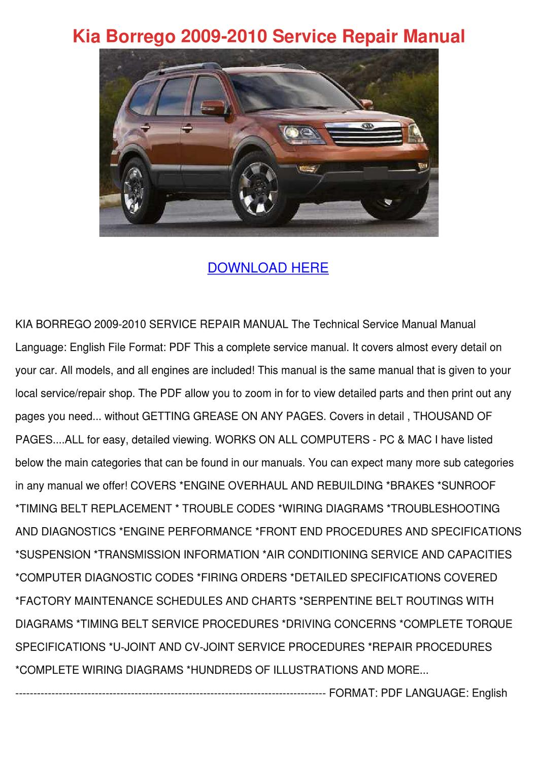 Kia Borrego 2009 Owners Manual Pdf Download Wiring Diagram 45mb Canada The