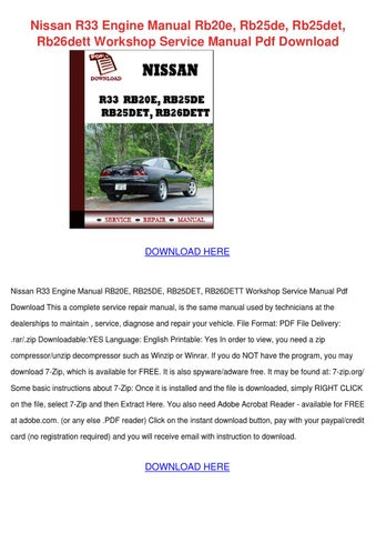 nissan skyline r33 workshop manual free download