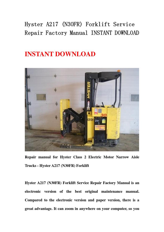 hyster a217 n30fr forklift service repair factory manual. Black Bedroom Furniture Sets. Home Design Ideas